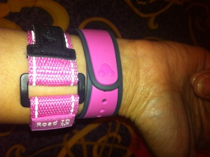 MagicBand worn with RoadID during runDisney race