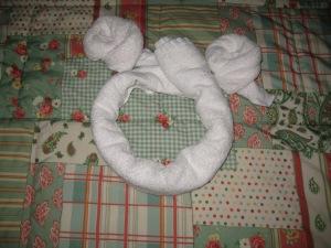 """Studio queen bed with """"hidden Mickey"""""""