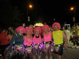 Julie, Alison, Patty, Me and Art (isn't he a good sport to be wearing a PINK AFRO?!!)