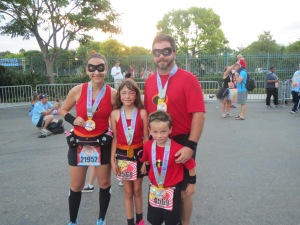 My family just after completing the 2013 Disneyland Family 5K, but prior to the 10K!