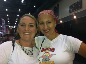 Meeting a survivor who was 1-year out from treatment and being bald!