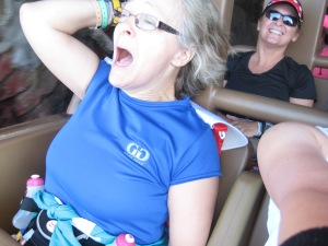 Alison screaming her head off during our Expedition Everest Ride!  She was terrified and I was peeing my pants laughing at her terror.