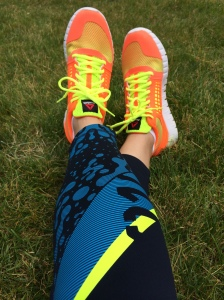 Reebok running tights and ZQuick Electrify shoes