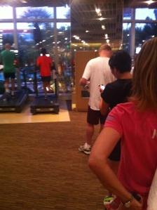 The morning treadmill line at the gym - Aria, Las Vegas