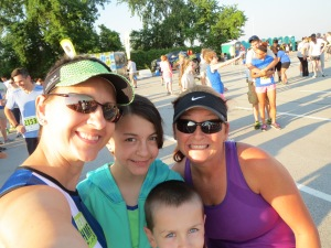 With Perfectly Goofy Gail, my son and daughter before the 5K