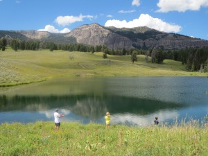 Fishing in Trout Lake, Yellowstone National Park