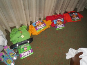 Race attire laid out for family - 2014 WDW 5K
