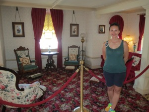 Standing in Walt Disney's apartment.