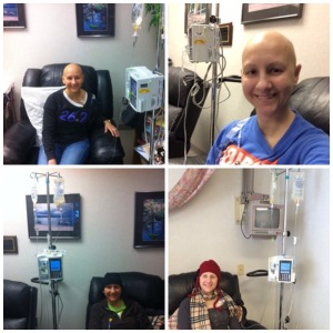 Some photos from different stages of breast cancer treatment.
