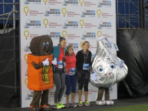 Hershey Characters posing for snaps pre-race