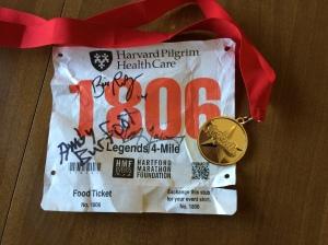 2014 Legends 4 Mile bib and medal