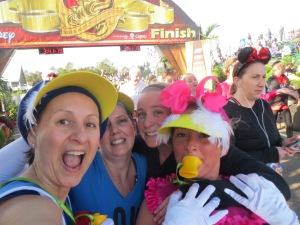 With Perfectly Goofy Gail at the finish of her 10th WDW Half Marathon