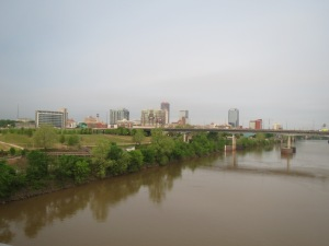 The view of Little Rock from the bridge